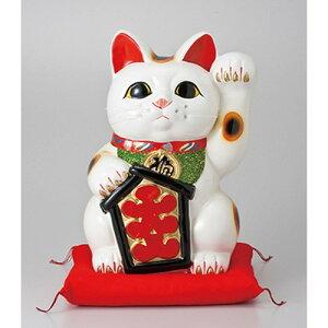 3個セット☆常滑焼招き猫☆大入白猫13号(左手)座ぶとん付[28x27x43cm]【縁起物置物インテリアかわいい日本土産】