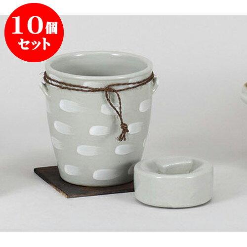 10個セット 保存容器 白刷毛目一夜漬 [14 x 15.5cm] 土物 輸入品 料亭 旅館 和食器 飲食店 業務用:せともの本舗
