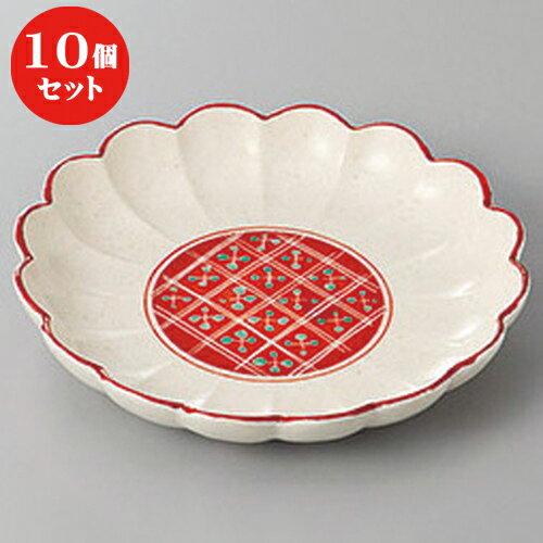 10個セット ☆ 和皿 ☆赤絵菊型取皿 [ 15.5 x 2.7cm ]