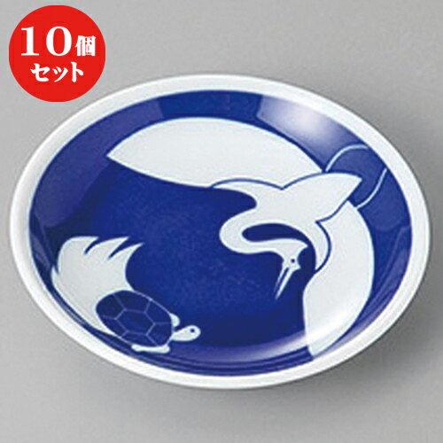10個セット ☆ 小皿 ☆藍染 鶴と亀小皿 [ 10 x 2cm ]