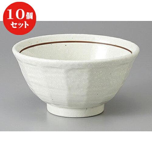 10個セット ☆ 丼 ☆粉引錆線面取5.5丼 [ 16.4 x 8.6cm ]