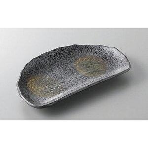 焼物皿黒伊賀半月皿[21x13x2.5cm]料亭旅館和食器飲食店業務用