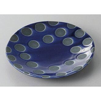 供衆人盤子雷恩藍色平盤子小[14.3 x 2.1cm]酒家旅館日式餐具飲食店業務使用