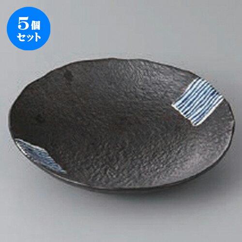 5個セット ☆ 向付 ☆藍たすき丸皿(小) [ 16 x 3.2cm ] 【 料亭 旅館 和食器 飲食店 業務用 】