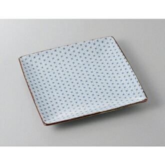 供正式角盛盤子亞麻的葉子角平盤子[22 x 22 x 2.8cm]酒家旅館日式餐具飲食店業務使用