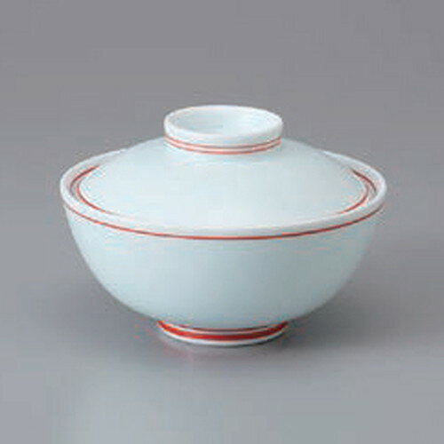 10個セット ☆ 円菓子碗 ☆菊紋朱筋蓋付茶碗 [ 11 x 7.5cm ]