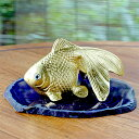 金箔 金運金魚(小) [130 x 90 x 75mm メノウ台約160×約140×5mm ] 縁起物 インテリア ギフ...