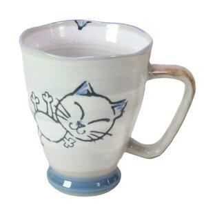 日本製 ねこ ジャンボ マグカップ 美濃焼 [直径9.4x幅13x高さ11.6cm] | ネコ 猫 カフェ 紅茶 コーヒー オシャレ かわいい 飲食店 陶磁器 便利 家庭用 大きい 大き目 大きめ ビッグ 特大 レンジ対応 食洗器対応