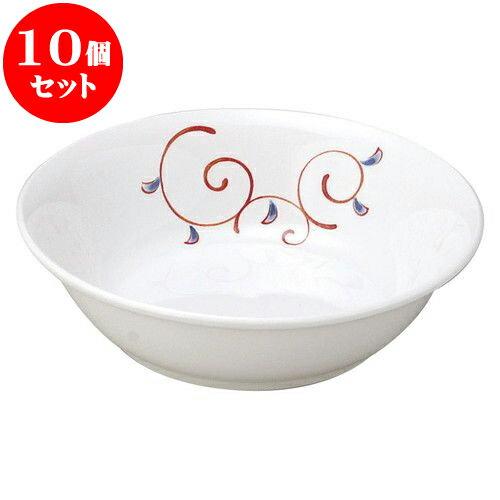 10個セット 和陶オープン 赤絵唐草 13cm丸深皿 [ 12.8 x 3.6cm ] 料亭 旅館 和食器 飲食店 業務用