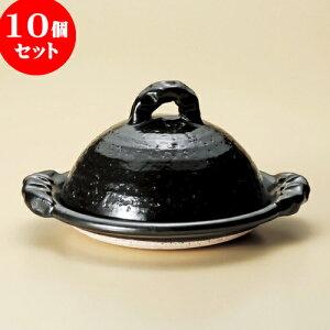 10個セット陶板黒釉8.0陶板(信楽焼)[30.5x26x16cm]料亭旅館和食器飲食店業務用