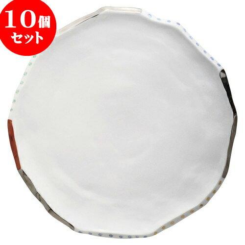 10個セット もだんコントラスト 色絵銀彩舞丸尺大盛皿 [ 33 x 32.5 x 3.5cm ] 料亭 旅館 和食器 飲食店 業務用:せともの本舗