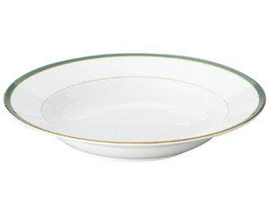 10個セット 洋陶オープン UDE ウルトラホワイトラインカラーグリーン 9吋スープ [ 23 x 4.3cm ] 料亭 旅館 和食器 飲食店 業務用
