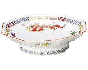 10個セット 中華オープン 三色雷紋 八角高台皿 [ 18.4 x 4.7cm ] 料亭 旅館 和食器 飲食店 業務用