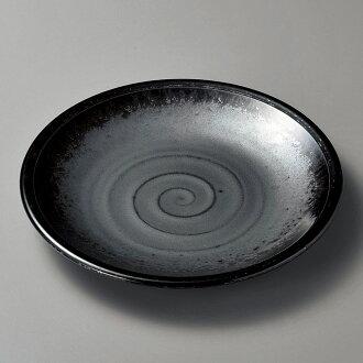 圓的盤子黑珍珠8.5平盤子[26.8 x 3.5cm][酒家旅館日式餐具飲食店業務用]