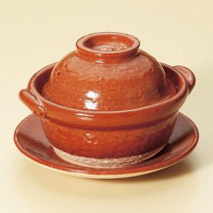 小鍋赤楽4.5号鍋(受皿付)(信楽焼)[15x13.5x9.5cm]料亭旅館和食器飲食店業務用