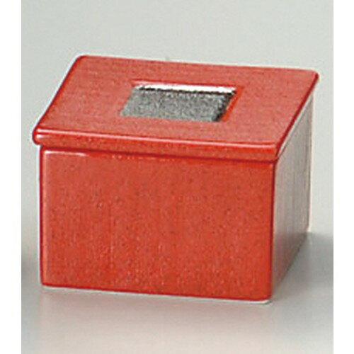 ☆ 卓上小物 ☆ ゆず赤結晶ラスター角型蓋物 [ 7.5 x 7.5 x 5.1cm ]