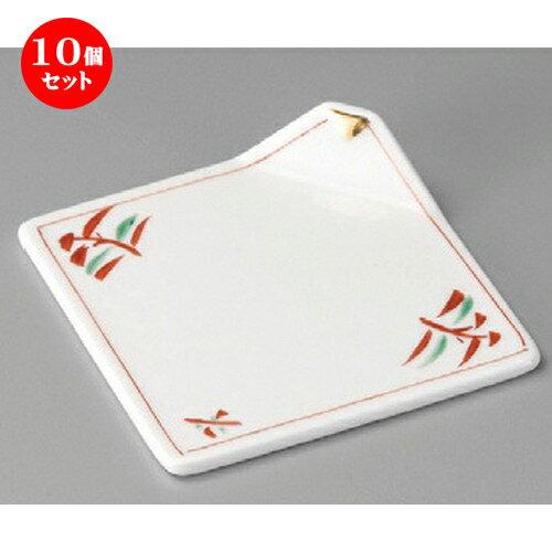 10個セット ☆ 松花堂 ☆ 赤絵角折皿 [ 112 x 112mm ] 【料亭 旅館 和食器 飲食店 業務用 】