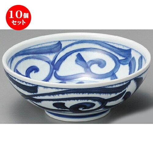 10個セット☆ 丼 ☆ 藍草紋麺鉢 [ 214 x 82mm ]