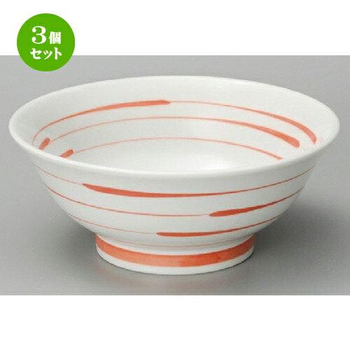 3個セット☆ 中華丼 ☆ 紅三線6.8高台丼 [ 215 x 90mm ]