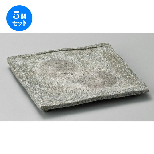 5個セット☆ 正角皿 ☆ 黒窯変ボタモチ正角皿 [ 220 x 220 x 28mm ]