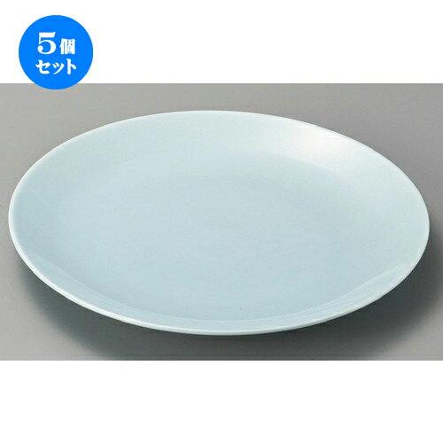 5個セット☆ 萬古焼大皿 ☆ 青地11.0丸皿 [ 340 x 40mm ] 【料亭 旅館 和食器 飲食店 業務用 】