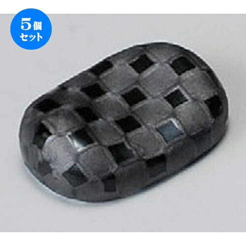 5個セット☆ 箸置 ☆ 小判型銀彩市松箸置 [ 44mm ]