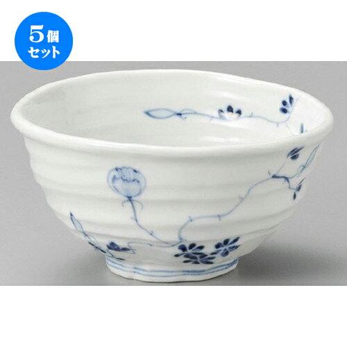 5個セット☆ 丼 ☆ 染付花絵変形4.5丼 [ 138 x 135 x 83mm ]