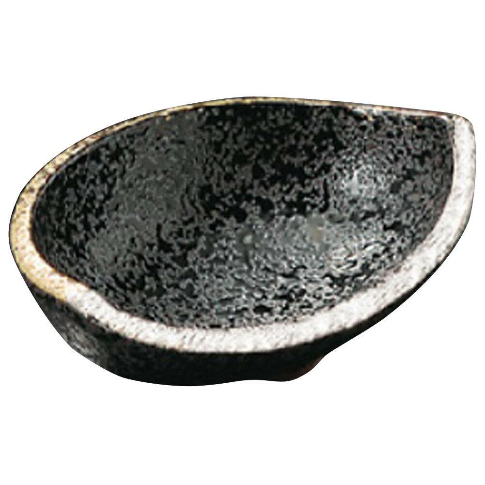 3個セット ☆ 刺身鉢 ☆ 黒ちらし口金銀半月形小々丼 [ 100 x 70 x 35mm ]