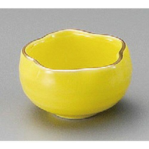 ☆ 珍味 ☆ 桔梗型珍味渕金黄釉 [ 56 x 35mm ]