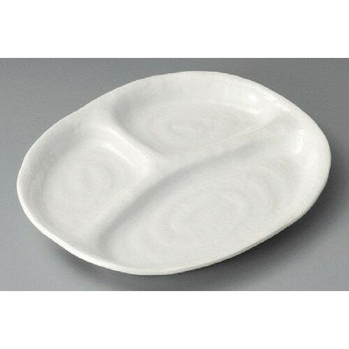 10個セット ☆ 仕切付焼物皿 ☆ 白釉三ツ切10吋仕切皿 [ 248 x 213 x 22mm ] 【料亭 旅館 和食器 飲食店 業務用 】