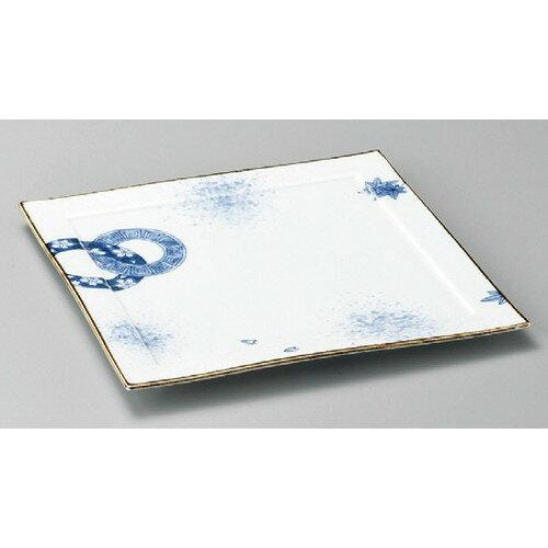5個セット☆ 正角皿 ☆ 染付春秋丸紋リム付27cm角皿 [ 270 x 270 x 20mm ]