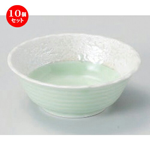 10個セット☆ 小付 ☆ヒワ釉真珠3.5花形鉢 [ 10.2 x 3.8cm 124g ]