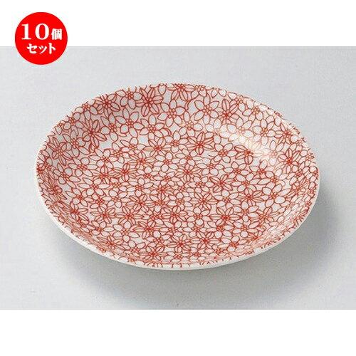 10個セット ☆ 組小皿 ☆赤小紋4.0皿 [ 13.2 x 2.2cm 147g ] 【 料亭 旅館 和食器 飲食店 業務用 】