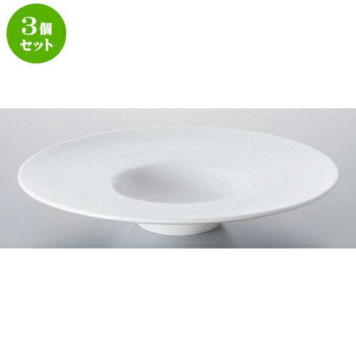3個セット ☆ ボーダーレススタイル ☆グラシアビスク26cm平型スープ [ 25.8 x 4.8cm 713g ]