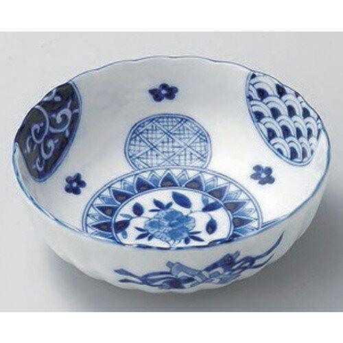 3個セット ☆ 組小鉢 ☆藍丸紋菊型5.5鉢 [ 16.9 x 6.1cm 366g ]