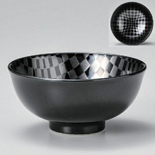 10個セット☆ 中平 ☆市松黒茶碗 [ 11.8 x 5.5cm 250g ]