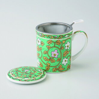 附帶啤酒杯茶杯蓋子的自由啤酒杯(緑彩唐草)[.250箱物品從屬于蓋子的啤酒杯x1/R8x9.5cm的:9.5x9.5x10.8cm]350g紙箱中國製造[餐具贈品裏面的祝賀漂亮]