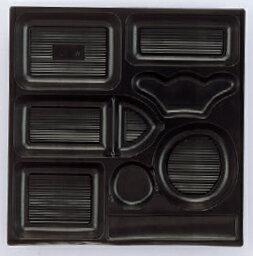 幕の内弁当 W-8 尺3寸角P.S黒仕切厚型 1梱 700枚入り P.S (7-445-3) 【料亭 旅館 和食器 飲食店 業務用】:せともの本舗