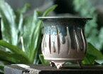 【陶翠造植木鉢】4号風蘭鉢雲足メッシュ「織部」【和風植木鉢 ミニ盆栽鉢 陶器 磁器】