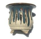【陶翠造植木鉢】4号風蘭鉢雲足メッシュ「青交趾」【和風植木鉢 ミニ盆栽鉢 陶器 磁器】