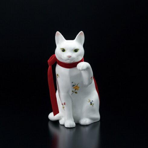 100個限定ノリタケ 置物招き猫(大)花柄レッドリボン