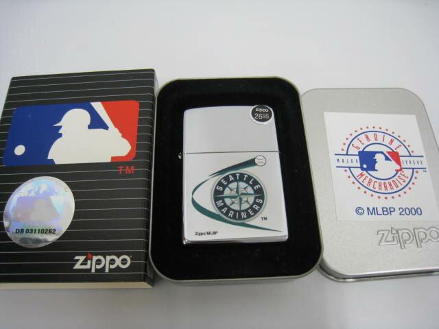 【新品】2000年製 平成12年 Zippo ジッポー MLB SEATTLE MARINERS シアトル マリナーズ オイルライター シルバー 鏡面 メジャーリーグ ベースボール 野球画像