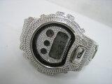 【未使用】CASIOカシオG-SHOCKGショックフルカスタム14KホワイトゴールドコーティングキュービックジルコニアDW-6900腕時計