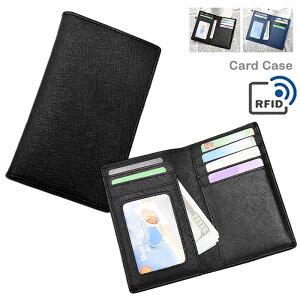 メンズ カードケース ミニ財布 二つ折り ギフト RFIDブロック レディース スキミング防止機能付き 薄型 カードホルダー サイドポケット パスケース お札入れ サフィアーノレザー調 おしゃれ シンプル