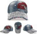 キャップ レディース メンズ デニムキャップ 帽子キラキラ リップスティック ラインストーン付きヴィンテージ ベースボールキャップ カジュアル ハット 野球帽 おしゃれ