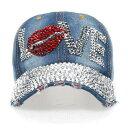 キャップ レディース メンズ デニムキャップ キラキラ ラブリップ ラインストーン付き ヴィンテージ ベースボールキャップ カジュアル ハット 野球帽