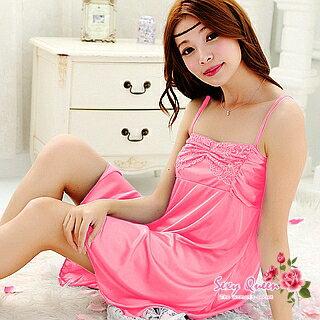胸元ギャザーレースベビードール セクシー ランジェリーサテン ロング ネグリジェ ナイトウェア スリップ 下着 通販 SEXYランジェリーPINK ピンク テイストセクシー baby doll セクシー下着 sexy lingerie インナー inner