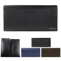 547a0b1a7753 ポールスミス 財布 二つ折り長財布 かぶせ シティエンボス 牛革 小銭入れあり ブラック ネイビー