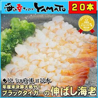 年度末大放出 海老天ぷらやエビフライにバッチリ! 伸ばし海老 12.5cm前後の中サイズ20本入り ブラックタイガー エビ えび