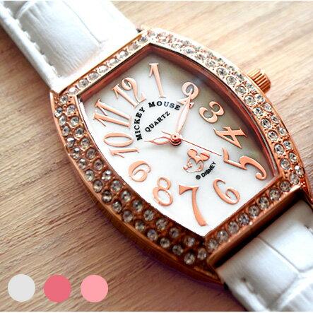 腕時計 レディース Disney ディズニー ミッキー ミッキーマウス 本牛革ベルト スワロフスキー ミッキートノー型腕時計 (fa-NFC130527-29) 本革 ステンレス かわいい ケース ボックス付 シリアルナンバー これ一つでジュエリー代わりに♪PAVE【送料無料】